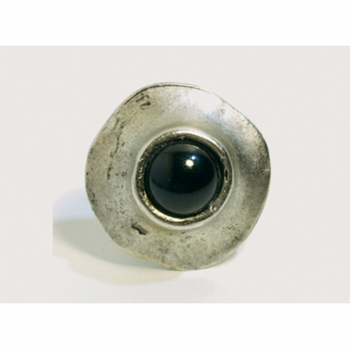 Emenee OR356 Round with Black Stone Center Cabinet Knob 1-1/4 inch AMS-Antique Matte Silver