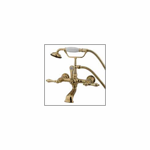 "Kingston Brass CC551T2 Vintage Clawfoot Tub Filler w/Hand Shower 7 "" Center Polished Brass"