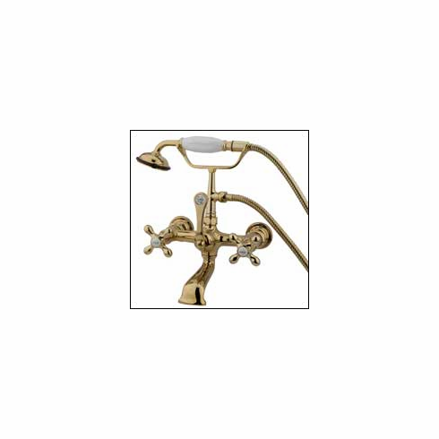 "Kingston Brass CC557T2 Vintage Clawfoot Tub Filler w/Hand Shower 7 "" Center Polished Brass"
