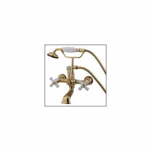 "Kingston Brass CC559T2 Vintage Clawfoot Tub Filler w/Hand Shower 7 "" Center Polished Brass"