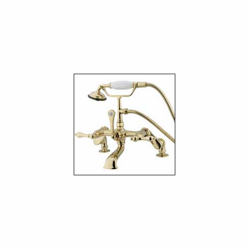 Kingston Brass CC651T2 Vintage Clawfoot Tub Filler w/Hand Shower Polished Brass