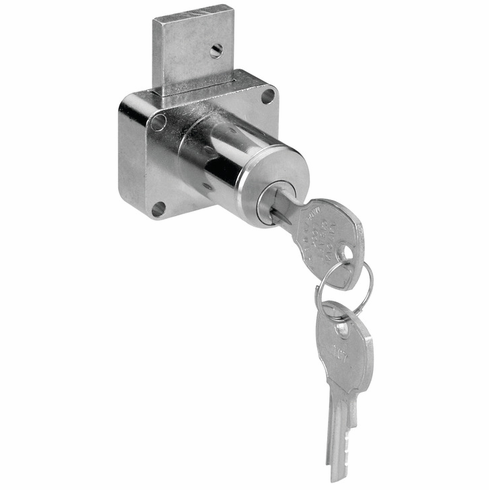 "Hafele 232.14.397 Drawer Lock, C8179, steel, brushed chrome, 1 3/8"", master keyed, keyed different (each)"