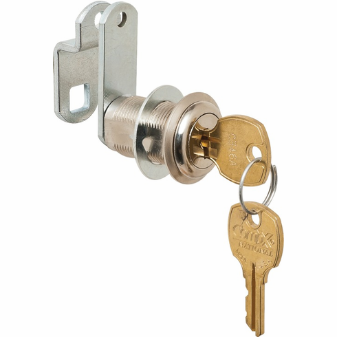 """Hafele 235.10.636 Cam Lock, C8073, Overlay/Flush, 1 3/16"""", with 180 degree cam rotation, bright nickel, C642A (25/package)"""