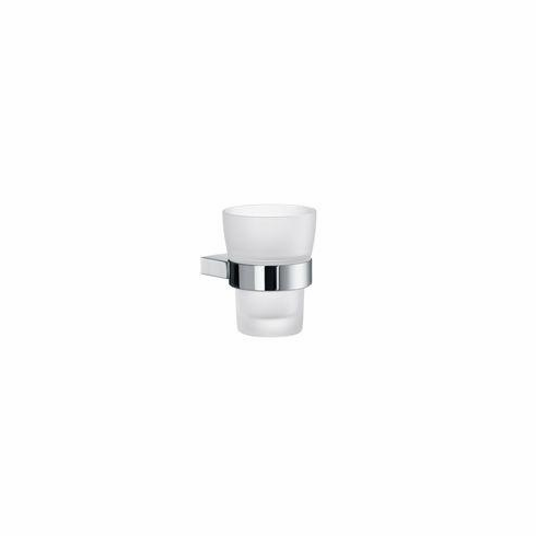 Smedbo AK343 Air Frosted Glass Tumbler Polished Chrome Depth=3.25 inch, Width= 4.75 inch, Height= 6.25 inch.
