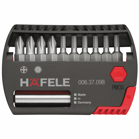 Hafele 006.37.098 Mini Bit Check, with magnetic bit holder, Torx and Phillips drives (each)