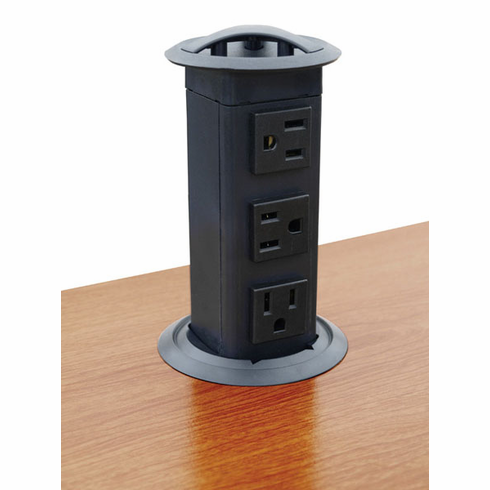 Hafele 822.99.320 Power Pop-Up Station, three outlets, plastic, black (each)