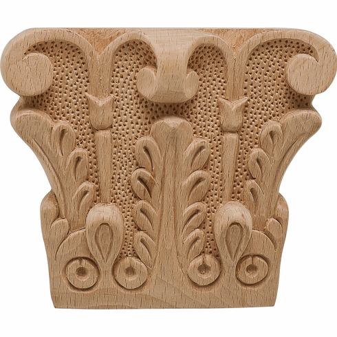 """Hafele 194.78.343 19478343 Carved Ornament, acanthus, beech, 5-1/8"""" x 4-1/2"""" x 1-9/16"""""""