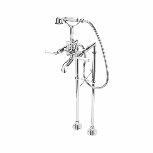 ROHL AKIT1901XMPN **Kit** Rohl Palladian Floor Mounted Exposed Tub Shower Mixer Package In Polished Nickel With Handshower And Palladian Cross Handles Includes A1901Xm C5574Ext