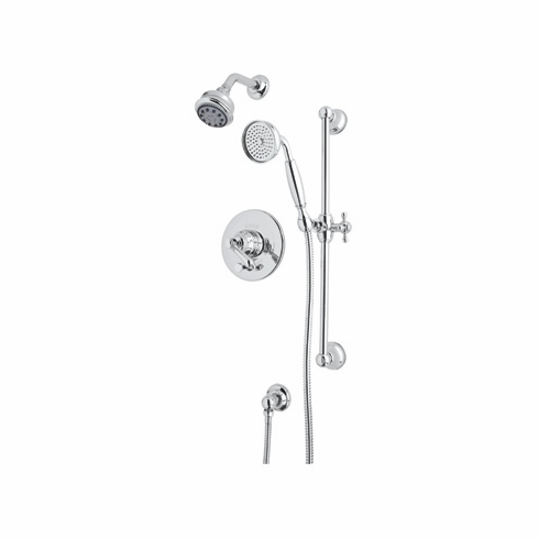 Rohl AKIT20LP-STN **KIT** ROHL COUNTRY BATH PRESSURE BALANCE SHOWER PACKAGE IN SATIN NICKEL WITH PORCELAIN LEVER INCLUDES B240NSH 1440/6 1300 AND A2400LP