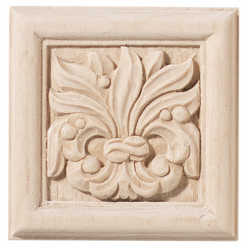 """Hafele 198.03.100 19803100 Carved Ornament, Chateau, maple, 2 7/8 x 2 7/8"""""""