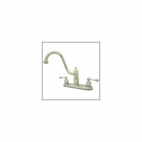 "Kingston Brass KB1111BLLS Heritage Twin Brass Lever Handle Kitchen Faucet 8 "" Center Polished Chrome"