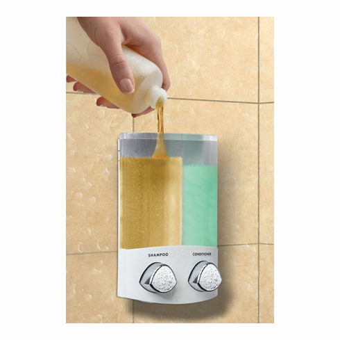 DUO 76254-1 White, Translucent Container with Chrome Buttons Bath Dispenser