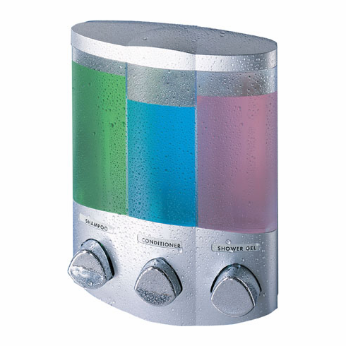 TRIO 76334-1 Satin Silver, Translucent Container with Chrome Buttons Bath Dispenser
