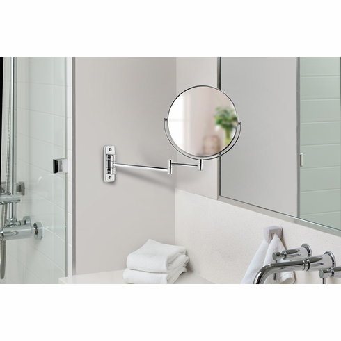 """Cosmo 13544 8"""" Chrome Mirror with Wall Mount, 5X Magnify"""