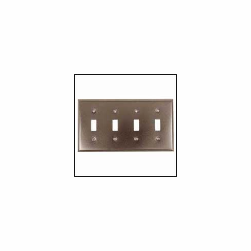 Acorn AW4BP 0314 4/Toggle Switch Plate Smooth Iron - Black (Each)