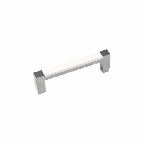 "Belwith/Hickory Loft P3441-SNWM  Pull, 3"" C/C Satin Nickel With White Matte� (EA)"