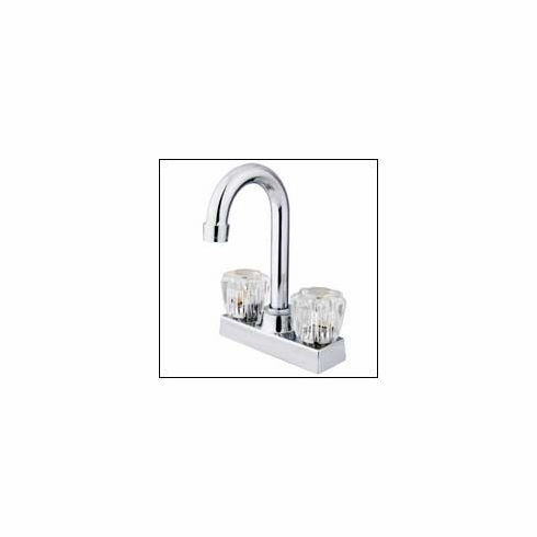 "Kingston Brass KB461 Bar Faucet W/Acrylic Handle 4 "" Center Satin Nickel"