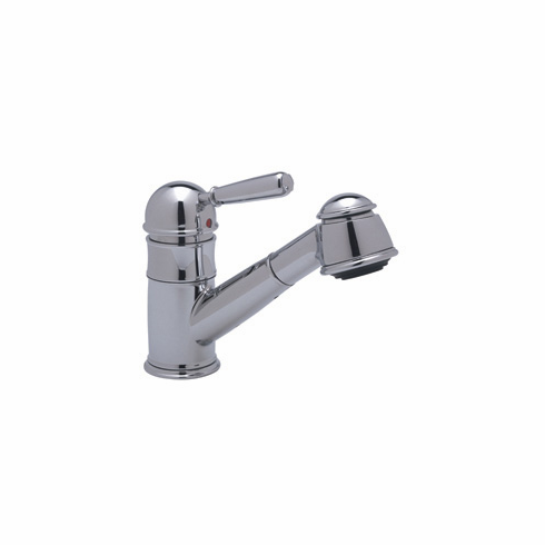 ROHL R77V3SSTN Rohl Single Metal Lever Country Kitchen Faucet In Satin Nickel With Short Handspray Double Check Valve And Pullout Hose