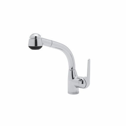 ROHL R7913SAPC Rohl Single Hole Side Metal Lever De Lux Kitchen Pullout Faucet In Polished Chrome With 7 1/2^ Reach Short Handspray And Hose