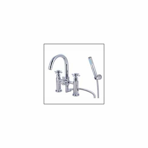 Kingston Brass Elinvar KS8251EX Two Handle Deck-Mount Tub and Shower Faucet with Handle Shower 6 inch Center Polished Chrome