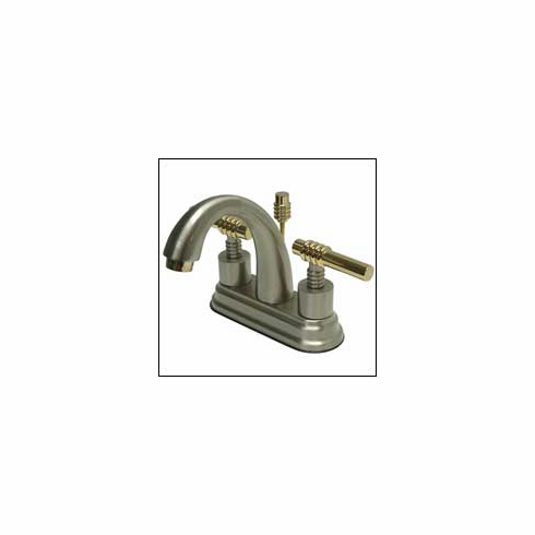 "Kingston Brass KS8619ML Milano Twin Brass Handle Lavatory Faucet 4 "" Center Satin Nickel w/Brass"