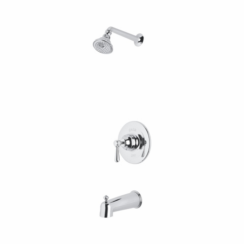 Rohl RBKIT14XM-PN **KIT** ROHL COUNTRY BATH VERONA PRESSURE BALANCE SHOWER AND BATH TUB PACKAGE IN POLISHED NICKEL WITH CROSS HANDLE INCLUDES RT8000 C5504 AND ARB1400XM