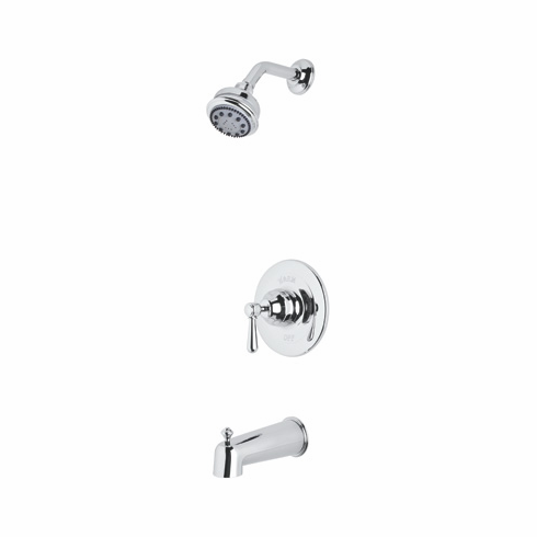 Rohl RBKIT24XM-STN **KIT** ROHL COUNTRY BATH VERONA PRESSURE BALANCE SHOWER AND BATH TUB PACKAGE IN SATIN NICKEL WITH CROSS HANDLE INCLUDES RT8000 B240NSH 1440/6 AND