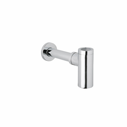 ROHL RPT124PN Rohl Modern Style 1 1/4^ X 1 1/4^ Extended Brass Cylinder Style Decorative Bottle Trap With Flat Flange In Polished Nickel With 16^ Long Waste Tube And Reducing