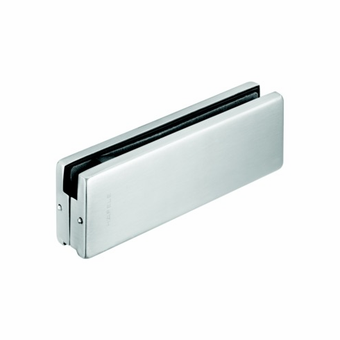 Hafele 981.00.000 98100000 Bottom Glass Door Patch Fitting, for 10-12.7mm thick glass, matte stainless steel cover, 162 x 51mm