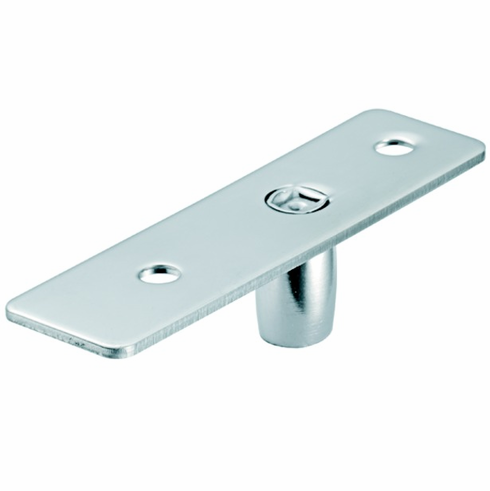 Hafele 981.00.080 98100080 Surface Mounted Top Pivot for top door patch fitting or top door rail, matte stainless steel cover, 106 x 28mm