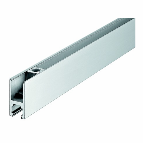 Hafele 981.00.252 98100252 Top Door Rail, for 10-12.7mm thick glass, matte stainless steel cover, 1000 x 66mm