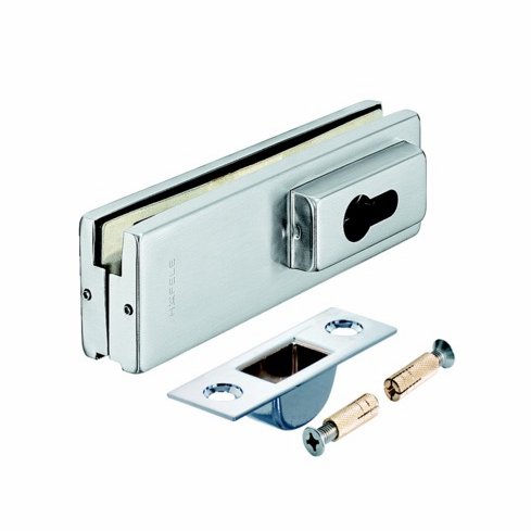 Hafele 981.00.400 98100400 Corner Door Patch Lock, for euro profile cylinder, for 10-12.7mm thick glass, matte stainless steel cover, 162 x 51mm