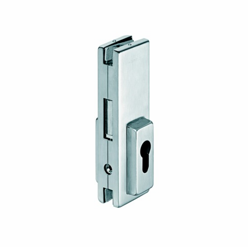 Hafele 981.00.410 98100410 Center Door Patch Lock, for euro profile cylinder, for 10-12.7mm thick glass, matte stainless steel cover, 51 x 162mm