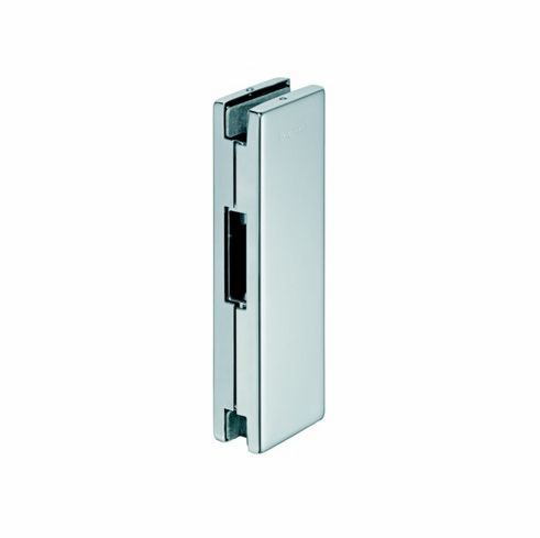 Hafele 981.00.420 98100420 Center Door Patch Strike, for 10-12.7mm thick glass, matte stainless steel cover, 51 x 162mm