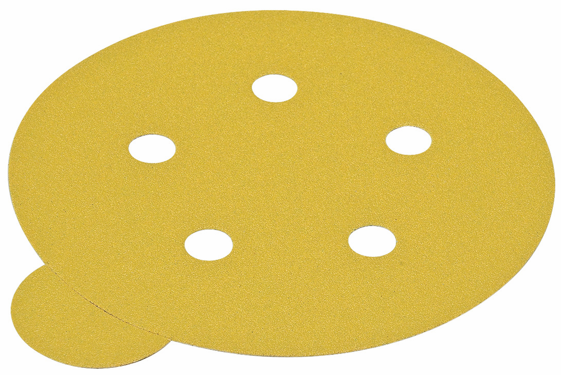 "Hafele 005.33.177 PSA Disc, 5"", 5 holes, aluminum oxide, gold, 600 grit, paper with tabs, 100 per package"