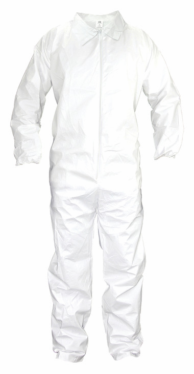 Hafele 007.46.312 Crew Coveralls, cloth-like-fiber, full zipper front, elastic wrist & ankle cuffs, large (each)