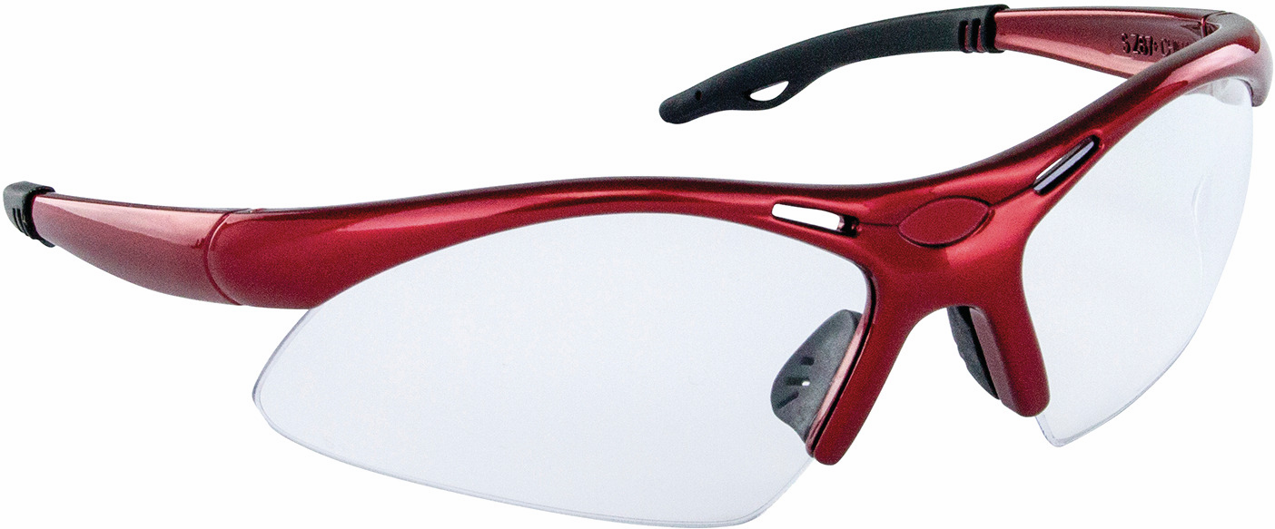 Hafele 007.48.044 Safety Glasses, Diamondbacks, red wrap-around frame, anti-fog and scratch resistance lens (each)