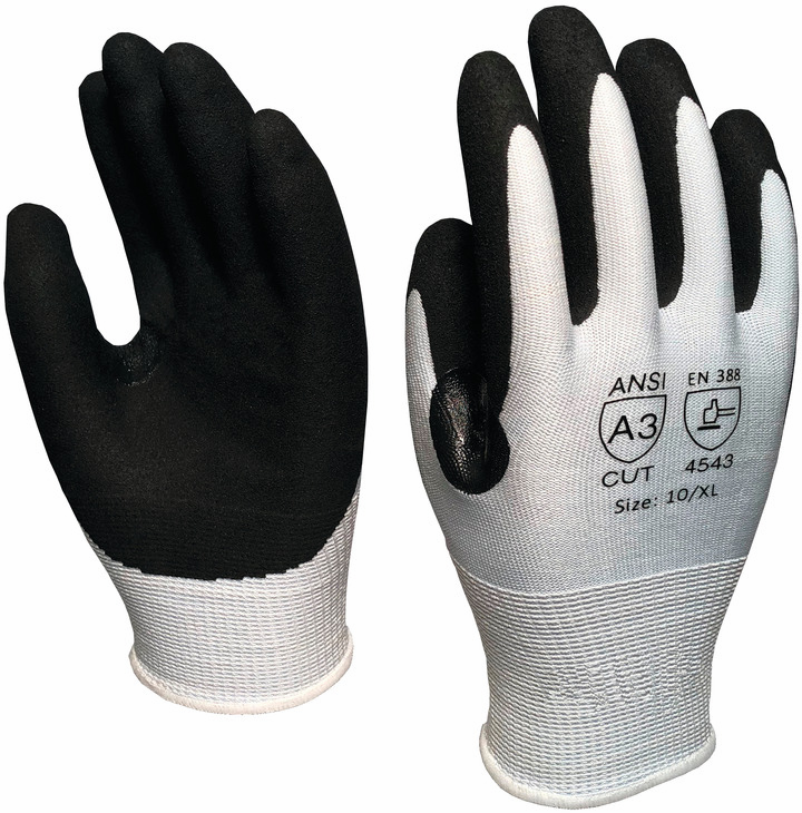 Hafele 007.64.591 Cut Resistant Glove, black nitrile coated, ANSI 3, UHMWPE liner, small (1 pair)
