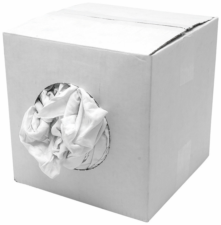 Hafele 008.54.599 Wiping Cloth, pre-washed cotton knits, white, 50 lb. box