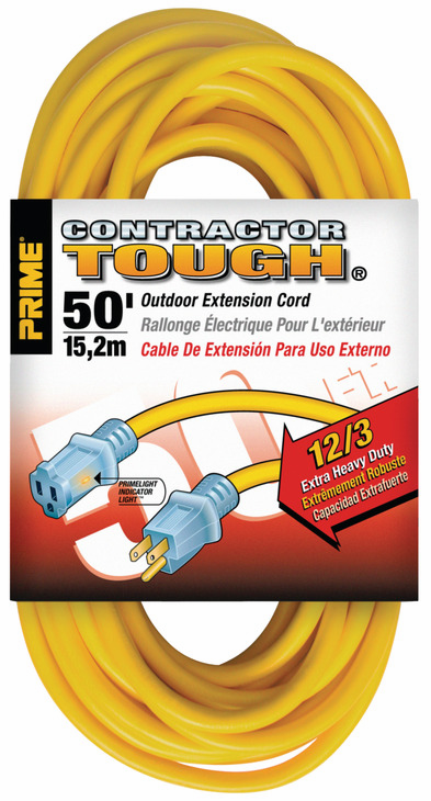 Hafele 008.74.201 Extension Cord, yellow, contractor grade, with primelight indicator light, 12/3 gauge, 50ft (each)