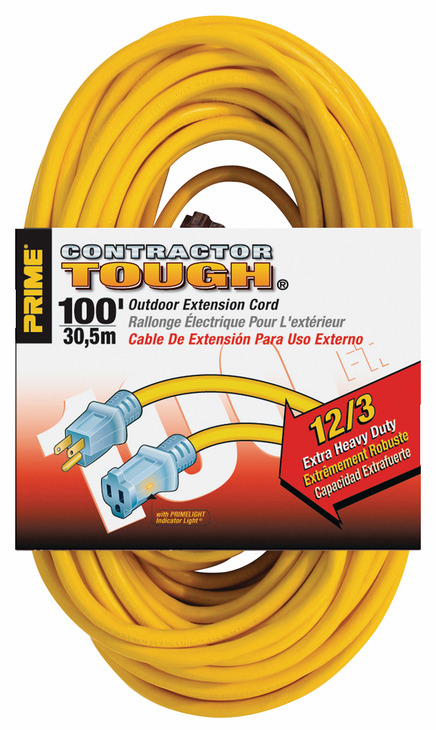 Hafele 008.74.202 Extension Cord, yellow, contractor grade, with primelight indicator light, 12/3 gauge, 100ft (each)