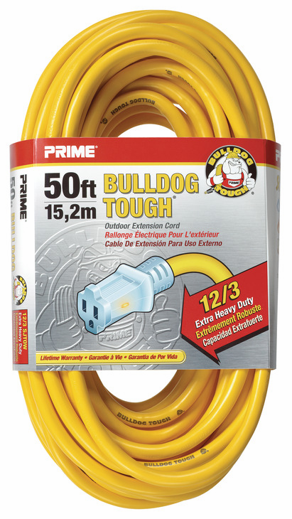 Hafele 008.74.204 Extension Cord, yellow, heavy duty, with primelight indicator light, 12/3 gauge, 50ft (each)