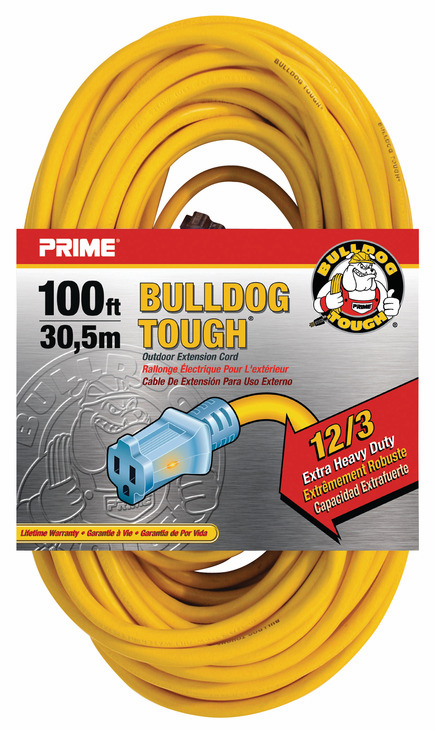 Hafele 008.74.205 Extension Cord, yellow, heavy duty, with primelight indicator light, 12/3 gauge, 100ft (each)