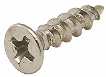 "Hafele 010.77.246 Screw, steel, polished chrome, flat countersunk head, phillips drive, #6 x 5/8"" (1000 pcs/pkg***)"