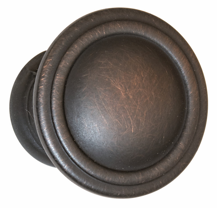 "Hafele 110.93.172 Knob, Keystone, zinc, oil-rubbed bronze, 105ZN72, 8-32, diameter 30mm, includes 1"" screws (each)"