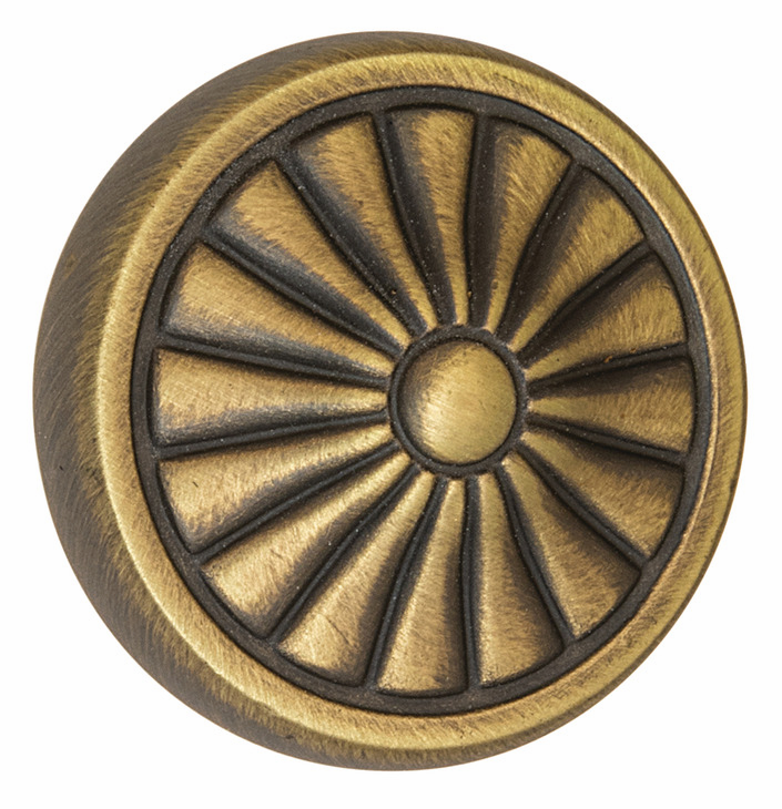 "Hafele 110.93.482 Knob, Keystone, zinc, antique satin brass, 133ZN72, 8-32, diameter 32mm, includes 1"" screws (each)"