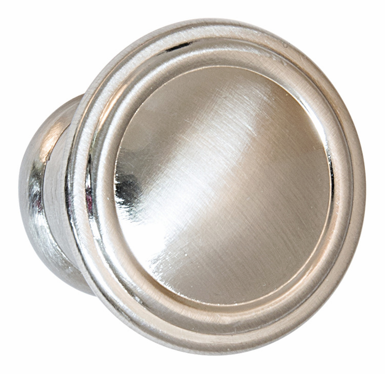 "Hafele 110.93.672 Knob, Keystone, zinc, satin nickel, 102ZN72, 8-32, diameter 30mm, includes 1"" screws (each)"