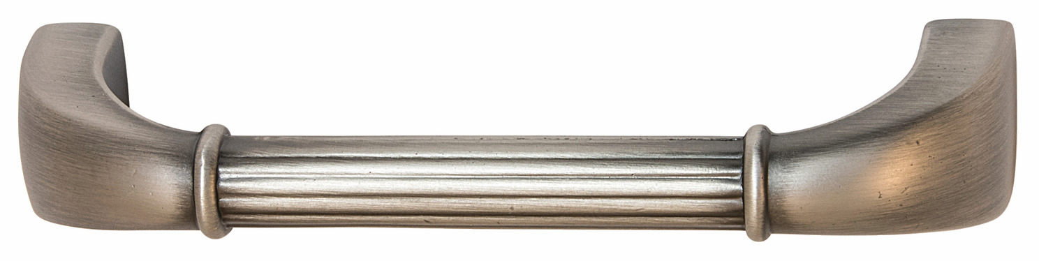 "Hafele 110.93.971 Handle, Keystone, zinc, satin pewter, 124ZN72, 8-32, center to center 96mm, includes 1"" screws (each)"
