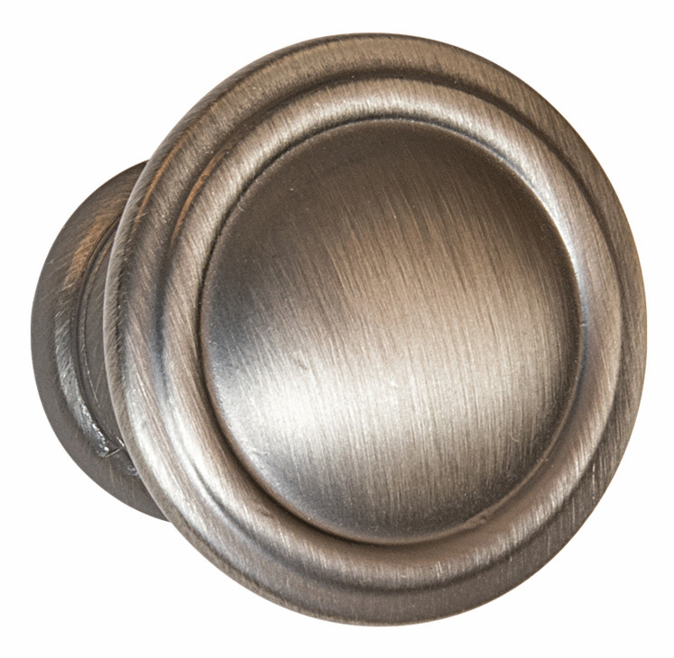 "Hafele 110.93.972 Knob, Keystone, zinc, satin pewter, 124ZN72, 8-32, diameter 30mm, includes 1"" screws (each)"