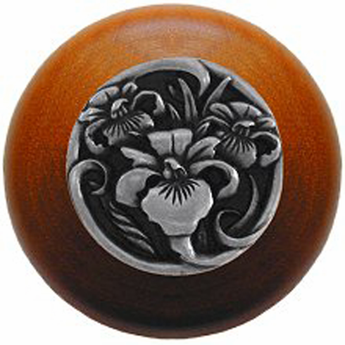 """NHW-728C-BP River Iris Wood Knob in Brilliant Pewter/Cherry wood finish 1-1/2"""" Dia 1-1/8"""" Proj Nouveau Collection by Notting Hill"""